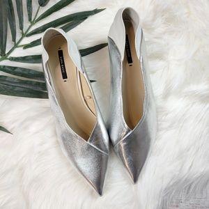 Zara Silver And White V Point Kitten Heels
